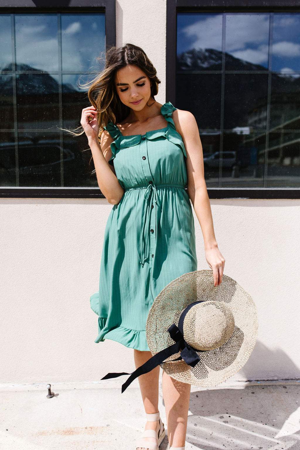 Barely Ruffled Green Sun Dress-1XL, 2XL, 3XL, 5-7-2020, Dresses, Group A, Group B, Group C, Large, Medium, Plus, Small-Womens Artisan USA American Made Clothing Accessories