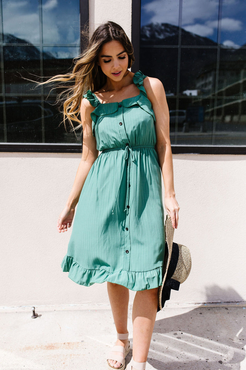 Barely Ruffled Green Sun Dress-1XL, 2XL, 3XL, 5-7-2020, Dresses, Group A, Group B, Group C, Large, Medium, Plus, Small, Warehouse Sale-Womens Artisan USA American Made Clothing Accessories