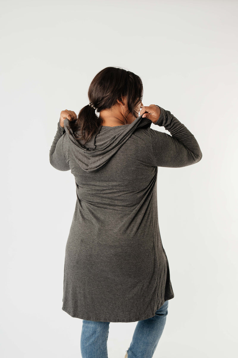 Between Seasons Cardigan In Charcoal-1XL, 2XL, 3XL, 9-1-2020, BFCM2020, Final Few Friday, Group A, Group B, Group C, Group D, Group T, Large, Made in the USA, Medium, Plus, Small, Tops, Warehouse Sale, XL, XS-Womens Artisan USA American Made Clothing Accessories