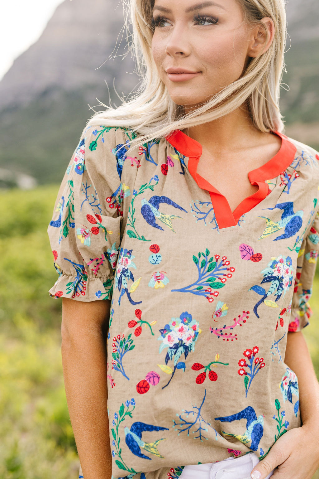 Bird Of Paradise Top-1XL, 2XL, 3XL, 7-17-2020, 7-9-2020, Bonus, Group A, Group B, Group C, Large, Medium, Plus, Small, Tops, XL, XS-Womens Artisan USA American Made Clothing Accessories