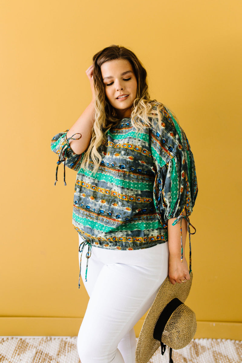 Bishop Sleeve Boho Crop Top In Green & Gray-1XL, 2XL, 3XL, 6-16-2020, 6-26-2020, Bonus, Group A, Group B, Group C, Large, Medium, Plus, Small, Tops, XL, XS-Womens Artisan USA American Made Clothing Accessories