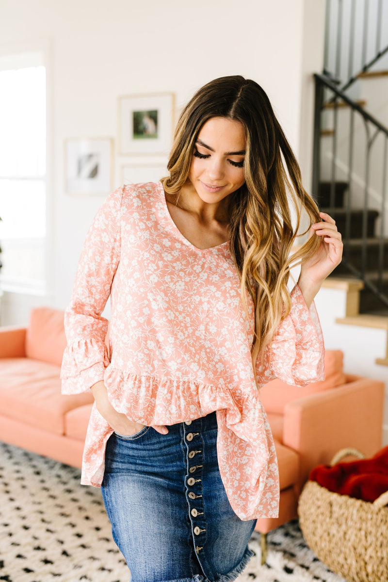 Blushing Rose Ruffled Top-1-22-2021, 3-31-2020, Group A, Group B, Group C, Made in the USA, Re-Release, Sync, Tops-Womens Artisan USA American Made Clothing Accessories