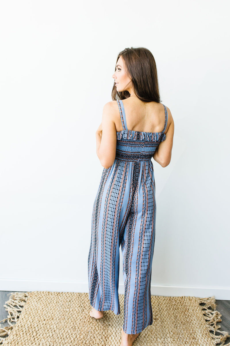Boho Smocked Jumpsuit In Blue-1XL, 2XL, 3XL, 7-28-2020, Bottoms, Final Few Friday, Group A, Group B, Group C, Large, Medium, Plus, Small, XL, XS-Womens Artisan USA American Made Clothing Accessories