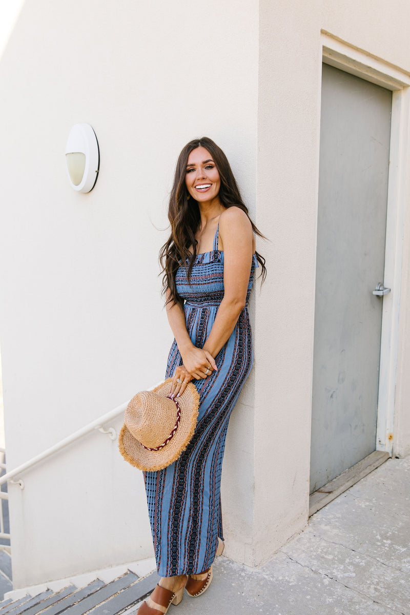 Boho Smocked Jumpsuit In Blue-1XL, 2XL, 3XL, 7-28-2020, BFCM2020, Bottoms, Final Few Friday, Group A, Group B, Group C, Group D, Large, Medium, Plus, Small, XL, XS-Womens Artisan USA American Made Clothing Accessories