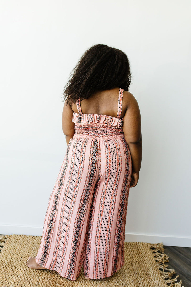 Boho Smocked Jumpsuit In Mauve-1XL, 2XL, 3XL, 7-28-2020, BFCM2020, Bottoms, Group A, Group B, Group C, Group D, Large, Medium, Plus, Small, XL, XS-Womens Artisan USA American Made Clothing Accessories