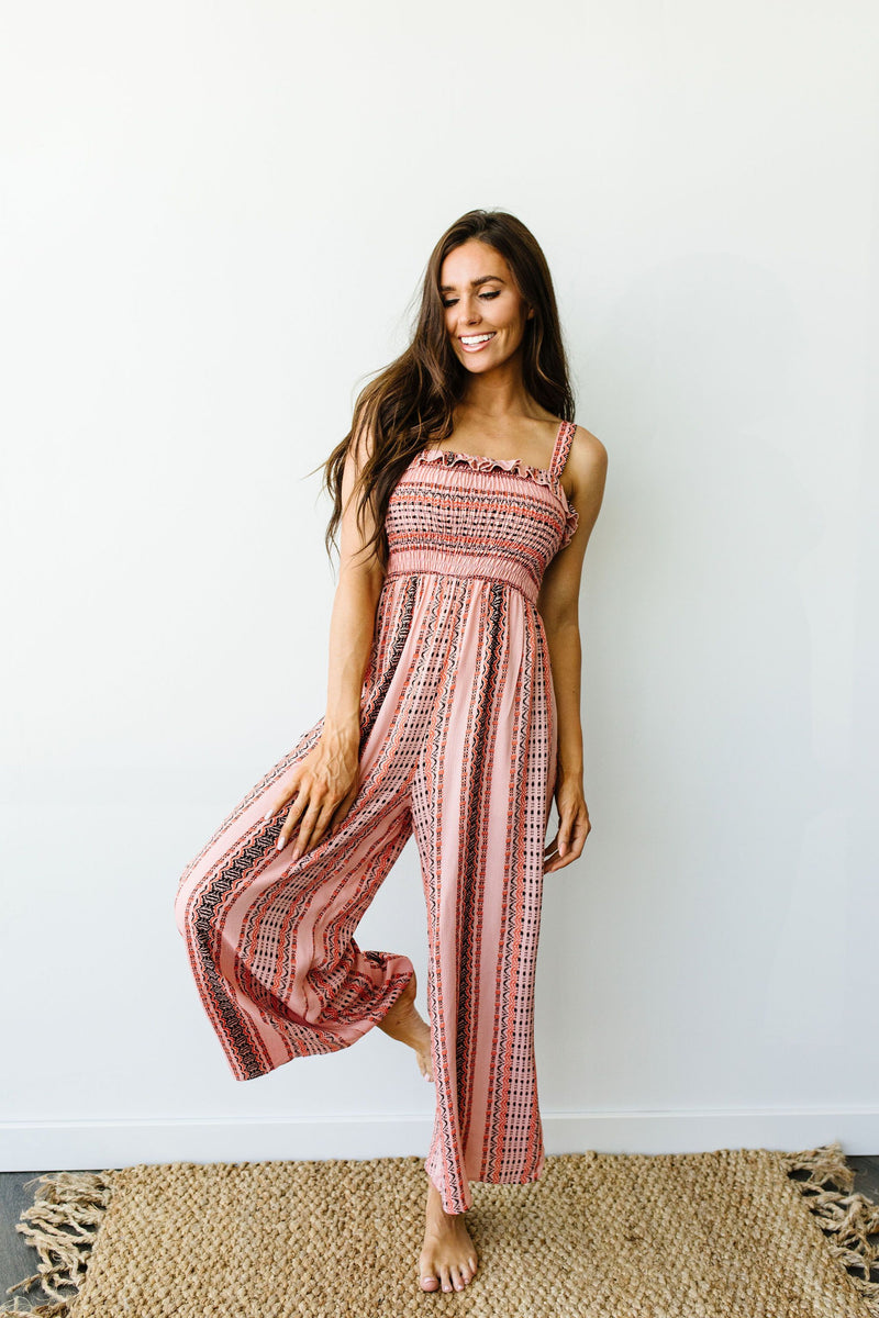 Boho Smocked Jumpsuit In Mauve-1XL, 2XL, 3XL, 7-28-2020, Bottoms, Group A, Group B, Group C, Group D, Large, Medium, Plus, Small, XL, XS-Womens Artisan USA American Made Clothing Accessories