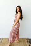 Boho Smocked Jumpsuit In Mauve-1XL, 2XL, 3XL, 7-28-2020, BFCM2020, Bottoms, Group A, Group B, Group C, Group D, Large, Made in the USA, Medium, Plus, Small, XL, XS-Womens Artisan USA American Made Clothing Accessories