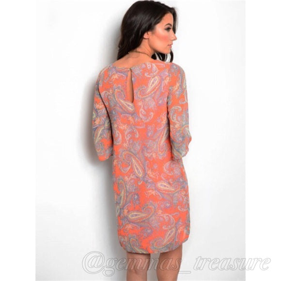 Orange Paisley Shift Dress--Womens Artisan USA American Made Clothing Accessories