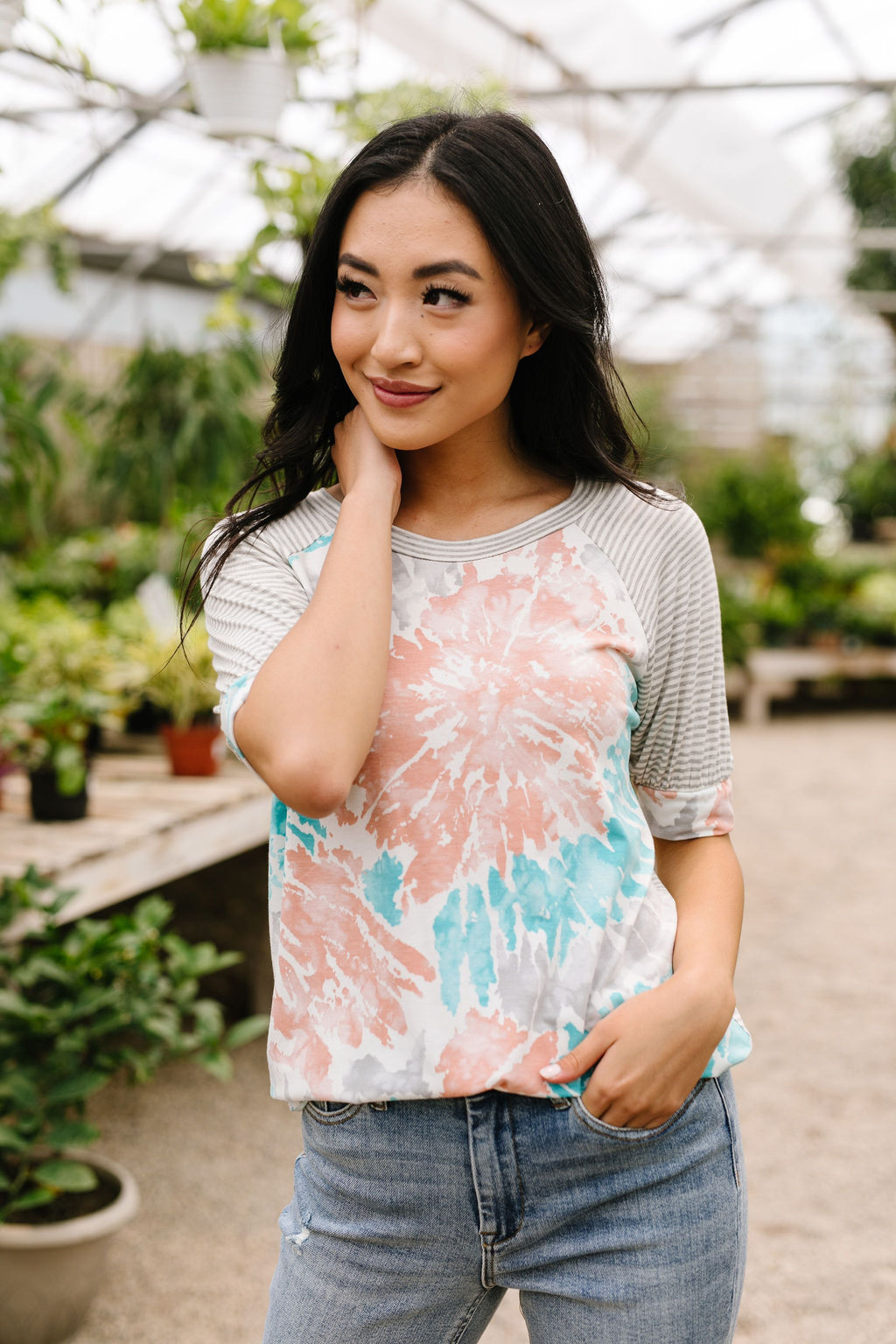 Bursts Of Tie Dye Raglan Top-1XL, 2XL, 3XL, 6-30-2020, 7-10-2020, Bonus, Group A, Group B, Group C, Large, Medium, Plus, Small, Tops, XL, XS-Womens Artisan USA American Made Clothing Accessories