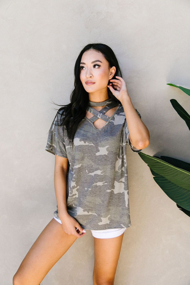 Camo Crisscross V-neck Top-1XL, 2XL, 3XL, 7-14-2020, Group A, Group B, Group C, Large, Medium, Plus, Small, Tops, XL, XS-Womens Artisan USA American Made Clothing Accessories