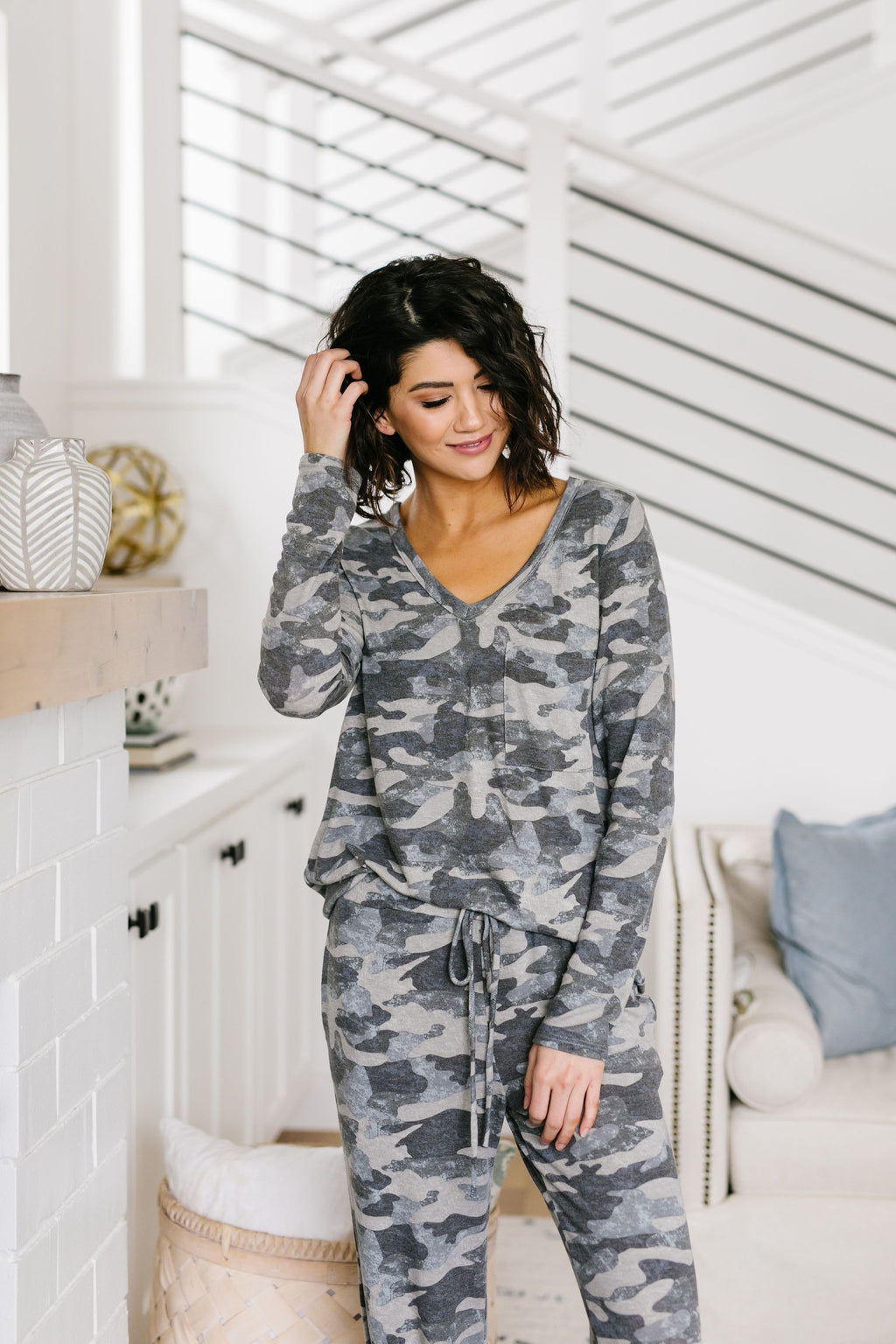Charcoal Camo Lounge Top--Womens Artisan USA American Made Clothing Accessories