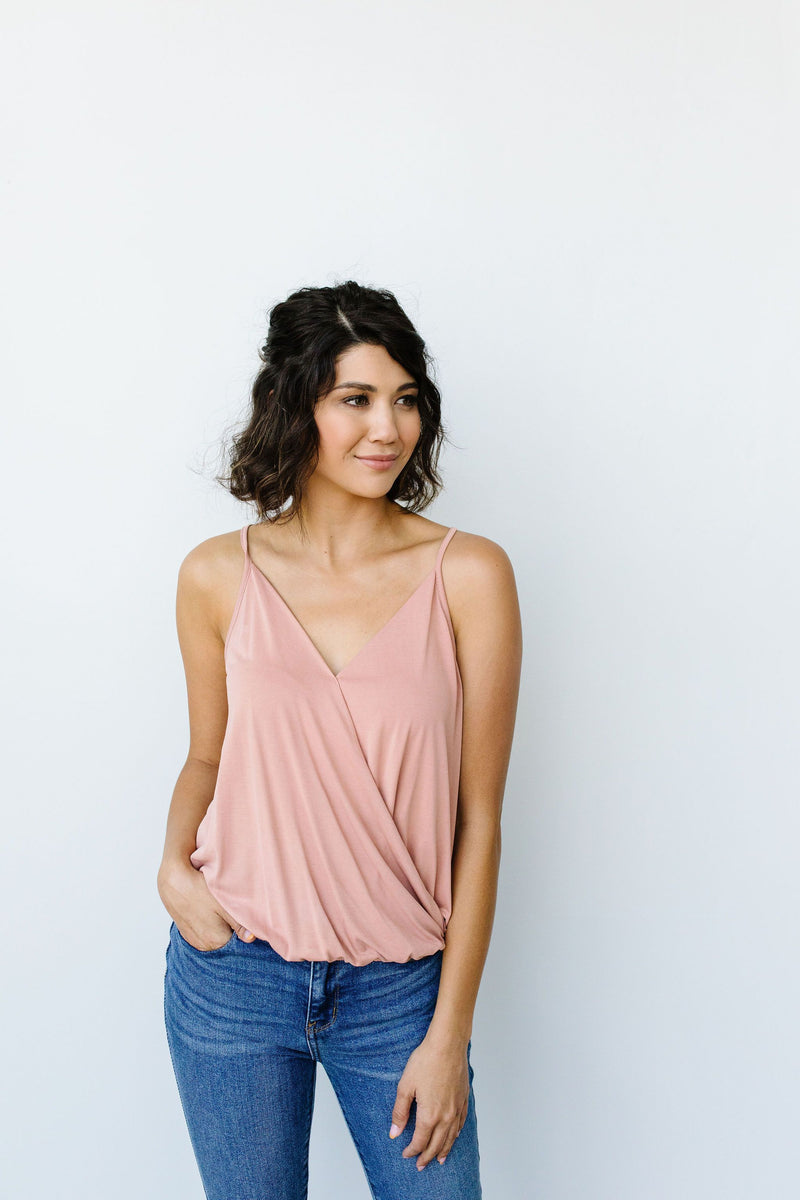 Charlize Surplice Tank In Blush - On Hand-1XL, 2XL, 3XL, 8-13-2020, BFCM2020, Group A, Group B, Group C, Group D, Group T, Large, Medium, On hand, Plus, Small, Tops-Small-Womens Artisan USA American Made Clothing Accessories