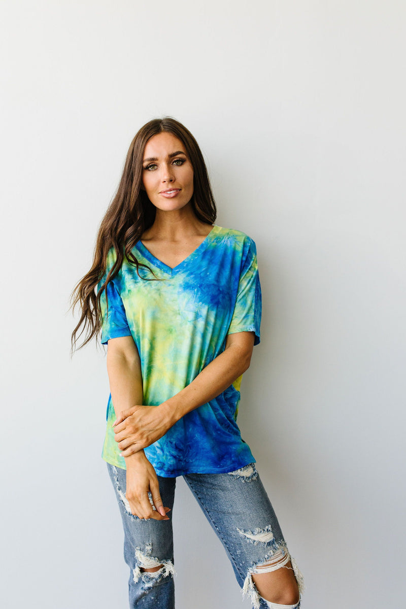 Clouds of Yellow & Blue Tie Dye Top-1XL, 2XL, 3XL, 7-23-2020, Group A, Group B, Group C, Large, Medium, Plus, Small, Tops, XL, XS-Womens Artisan USA American Made Clothing Accessories