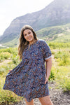 Clusters of Flowers Dress In Navy-1XL, 2XL, 3XL, 6-30-2020, 7-10-2020, Bonus, Dresses, Final Few Friday, Group A, Group B, Group C, Group D, Large, Medium, Plus, Small, XL, XS-Womens Artisan USA American Made Clothing Accessories