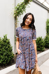Clusters of Flowers Dress In Navy-1XL, 2XL, 3XL, 6-30-2020, 7-10-2020, Bonus, Dresses, Group A, Group B, Group C, Large, Medium, Plus, Small, XL, XS-Womens Artisan USA American Made Clothing Accessories
