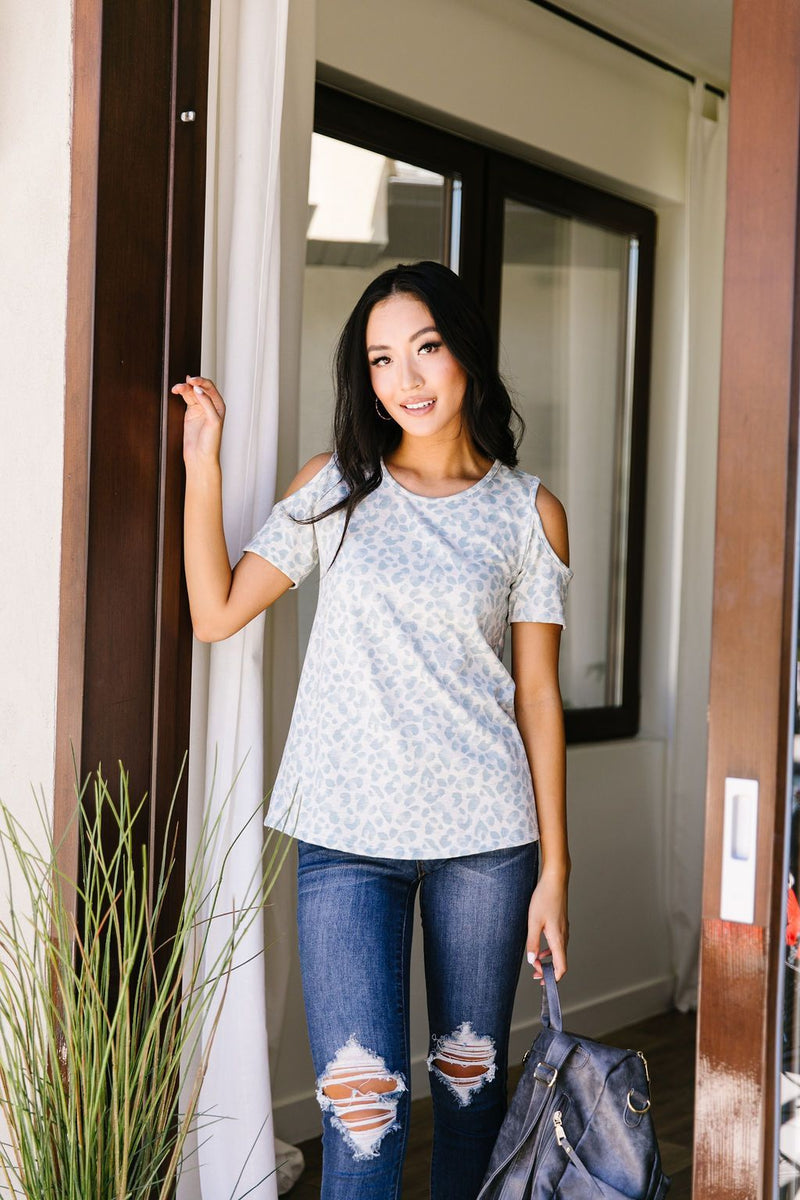 Cold Shoulders & Pale Blue Spots Top-1XL, 2XL, 3XL, 7-14-2020, 7-24-2020, BFCM2020, Bonus, Group A, Group B, Group C, Group D, Large, Made in the USA, Medium, Plus, Small, Tops, Warehouse Sale, XL, XS-Womens Artisan USA American Made Clothing Accessories