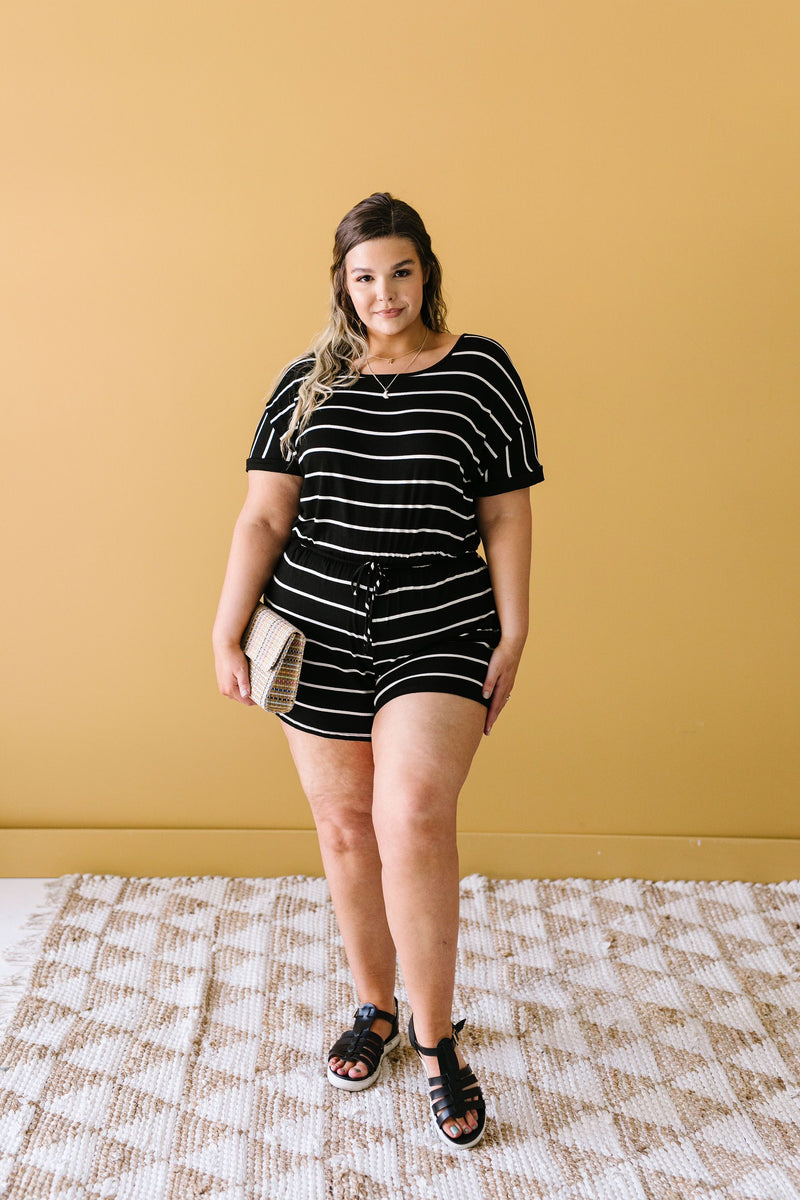 Comfort Stripes Romper In Black-1XL, 2XL, 3XL, 6-16-2020, 6-26-2020, BFCM2020, Bonus, Bottoms, Final Few Friday, Group A, Group B, Group C, Group D, Large, Made in the USA, Medium, Plus, Small, XL, XS-Womens Artisan USA American Made Clothing Accessories