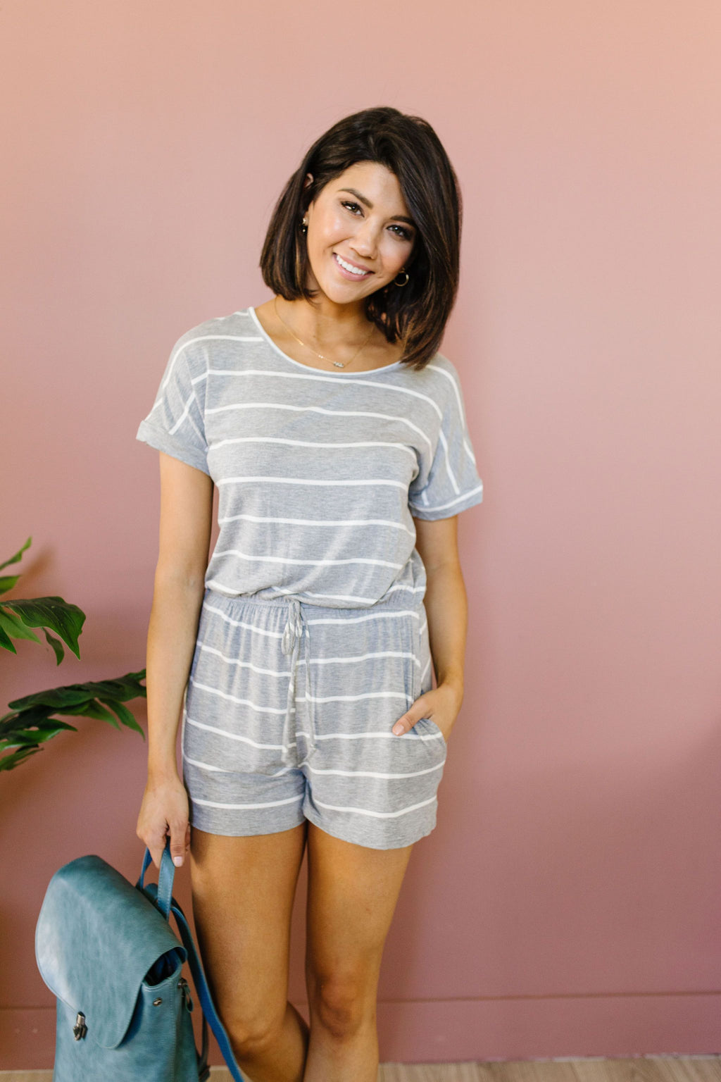 Comfort Stripes Romper In Heather Gray-1XL, 2XL, 3XL, 6-16-2020, 6-26-2020, Bonus, Bottoms, Group A, Group B, Group C, Large, Medium, Plus, Small, XL, XS-Womens Artisan USA American Made Clothing Accessories