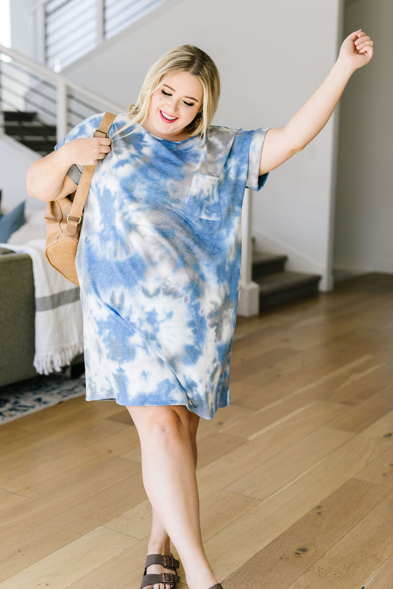Tie Dyed Comfort T-Shirt Dress In Blue-1XL, 2XL, 3XL, 4TH2020, 6-19-2020, 6-9-2020, Bonus, Dresses, Group A, Group B, Group C, Large, Medium, Plus, Small, XL, XS-Womens Artisan USA American Made Clothing Accessories
