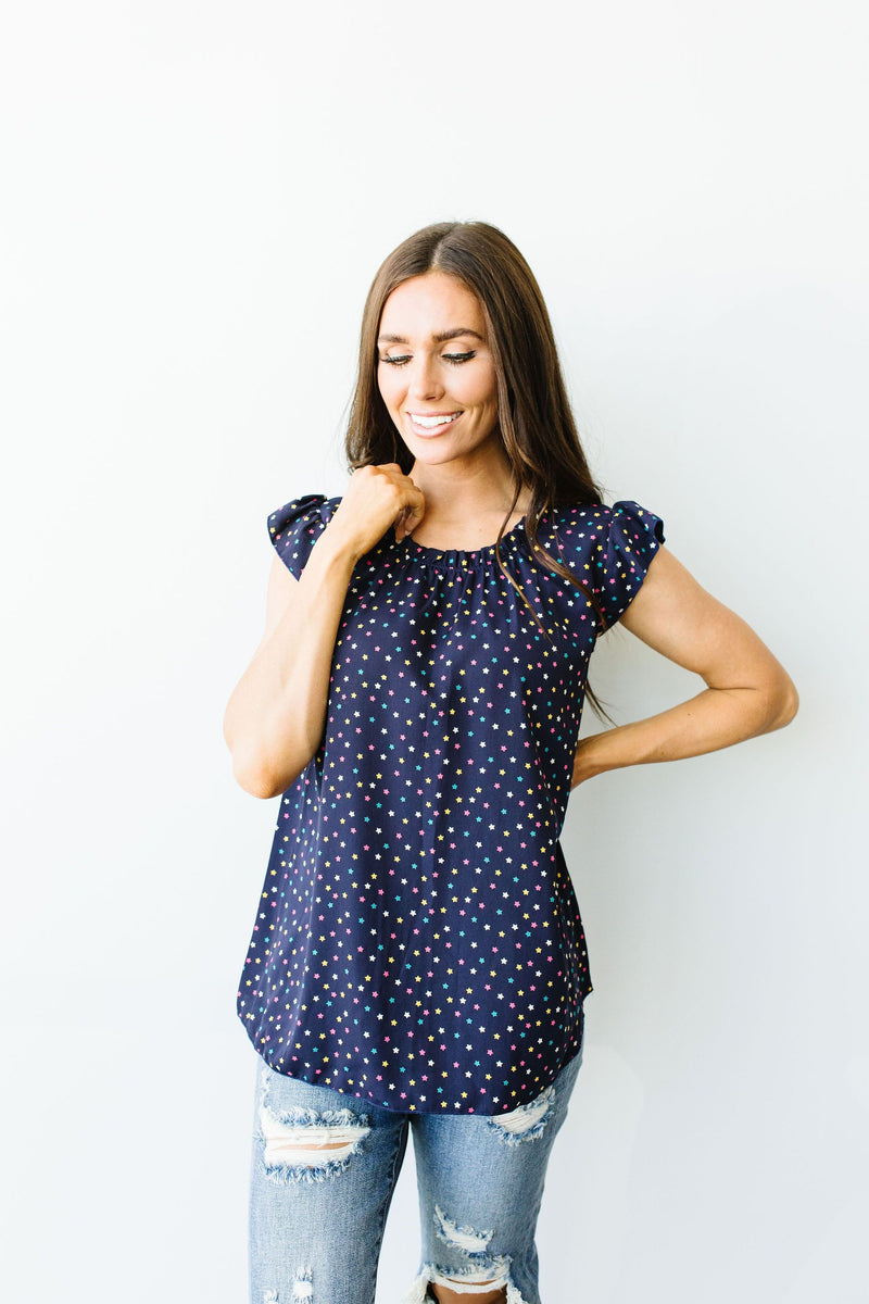 Confetti Is In The Stars Top-1XL, 2XL, 3XL, 7-30-2020, 8-7-2020, Bonus, Group A, Group B, Group C, Group D, Large, Medium, Plus, Small, Tops, XL, XS-Womens Artisan USA American Made Clothing Accessories