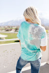 Cool Slice Of Tie Dye Top In Teal-1XL, 2XL, 3XL, 4-21-2020, BFCM2020, Bonus-5/08/20, Group A, Group B, Group C, Group D, Large, Made in the USA, Medium, Plus, Small, Tops, XL-Womens Artisan USA American Made Clothing Accessories