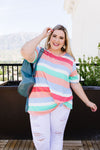 Core Concepts Coral Stripe Top-1XL, 2XL, 3XL, 6-25-2020, 7-3-2020, BFCM2020, Bonus, Final Few Friday, Group A, Group B, Group C, Group D, Group T, Large, Medium, Plus, Small, Tops, XL, XS-Womens Artisan USA American Made Clothing Accessories