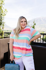 Core Concepts Coral Stripe Top-1XL, 2XL, 3XL, 6-25-2020, 7-3-2020, BFCM2020, Bonus, Final Few Friday, Group A, Group B, Group C, Group D, Group T, Large, Made in the USA, Medium, Plus, Small, Tops, XL, XS-Womens Artisan USA American Made Clothing Accessories
