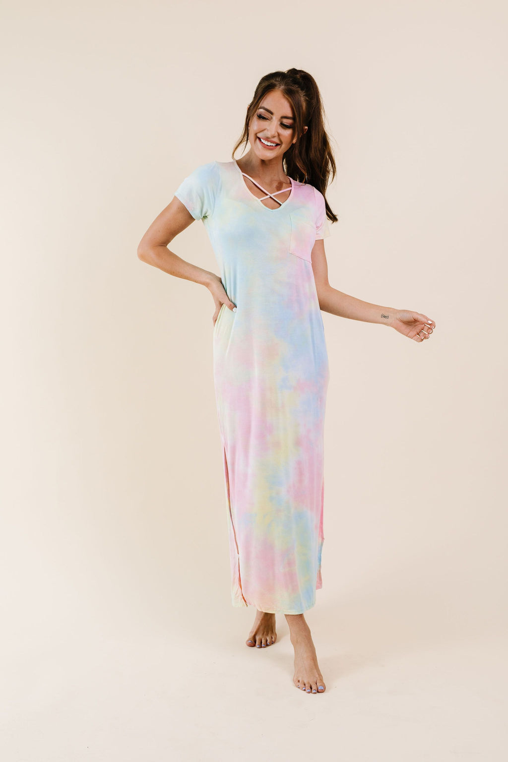 Crossing Over Tie Dye Maxi-1XL, 2XL, 3XL, 8-27-2020, BFCM2020, Dresses, Group A, Group B, Group C, Group D, Group T, Large, Medium, Plus, Small, XL, XS-Womens Artisan USA American Made Clothing Accessories