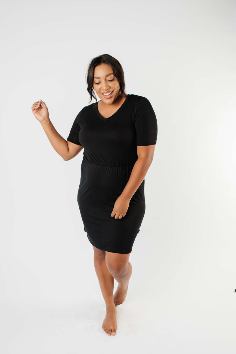 Cute Comfort Dress In Black - On Hand-1XL, 2XL, 3XL, 8-13-2020, BFCM2020, Dresses, Group A, Group B, Group C, Group D, Group T, Group V, Large, Medium, Plus, Small, XL, XS-Medium-Womens Artisan USA American Made Clothing Accessories