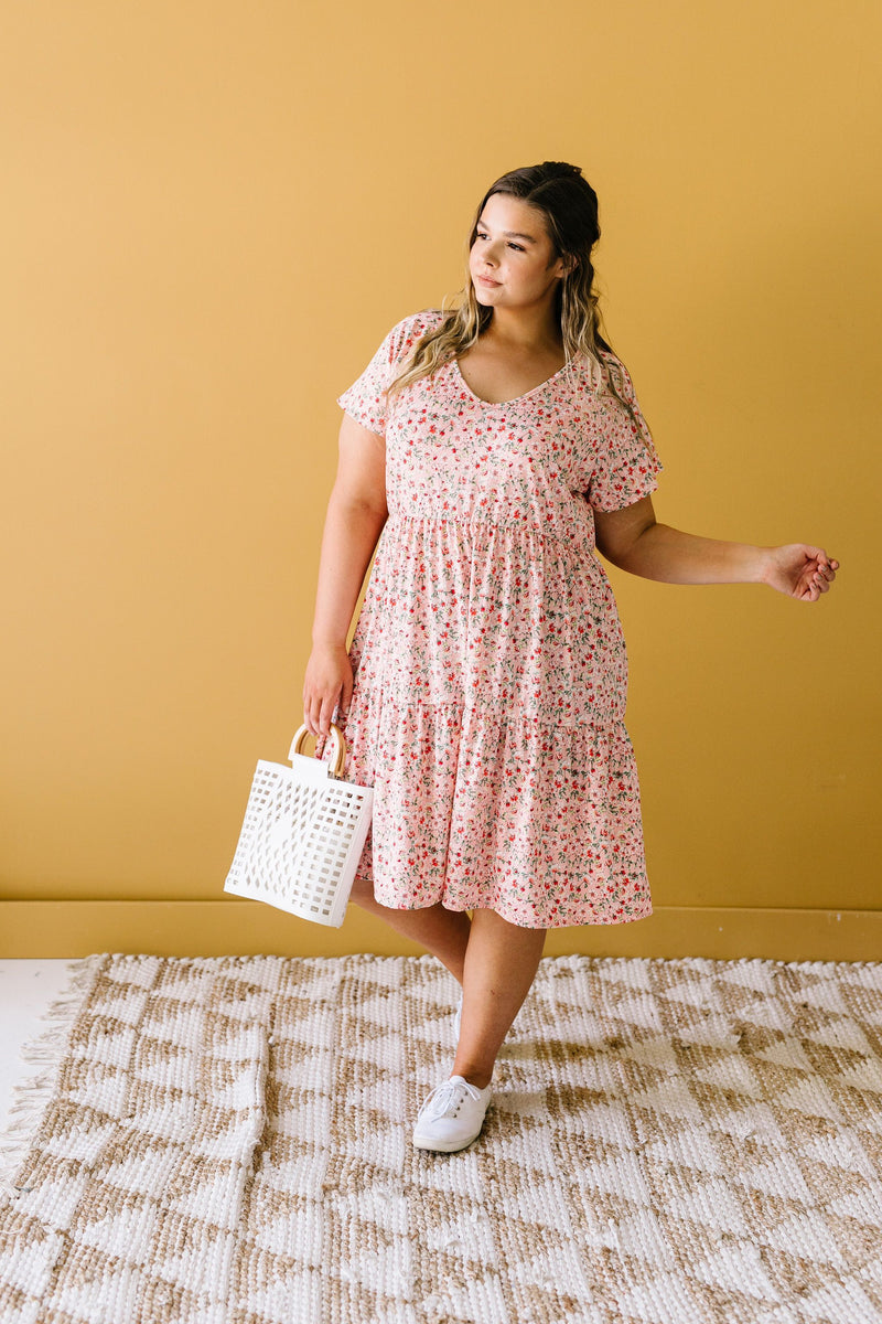 Ditsy Floral Tiered Dress-1XL, 2XL, 3XL, 6-16-2020, 6-26-2020, BFCM2020, Bonus, Dresses, Final Few Friday, Group A, Group B, Group C, Group D, Large, Medium, Plus, Small, XL, XS-Womens Artisan USA American Made Clothing Accessories