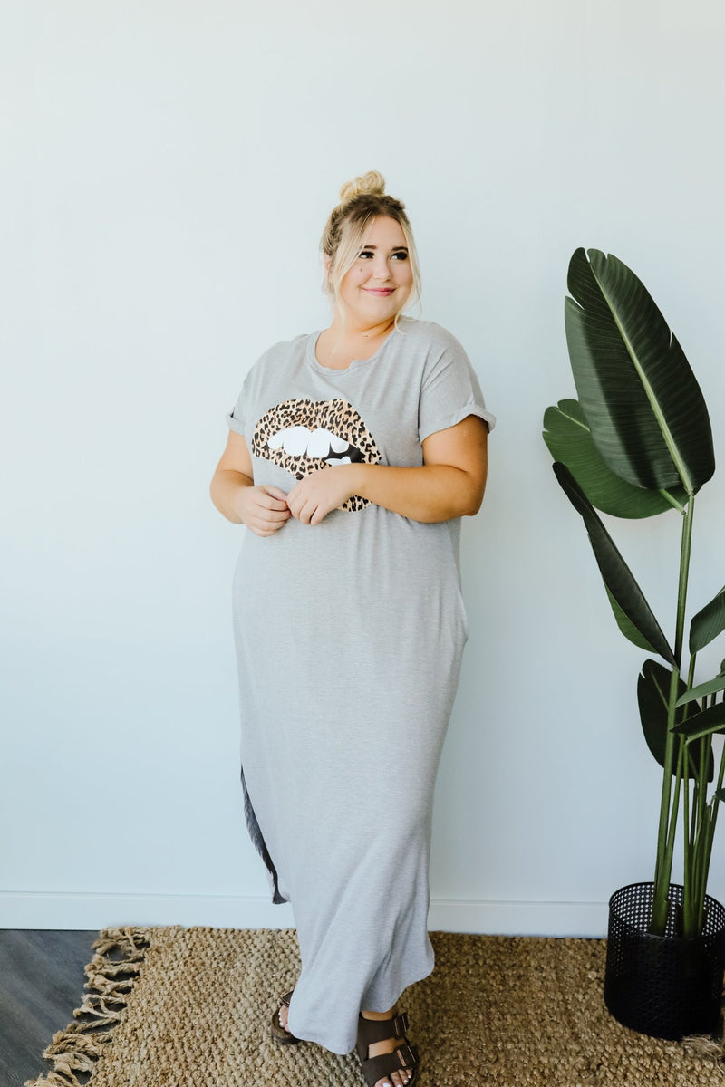 Don't Give Me Any Lip Maxi In Heather Gray-1XL, 2XL, 3XL, 7-16-2020, 7-24-2020, Bonus, Dresses, Final Few Friday, Group A, Group B, Group C, Group D, Large, Medium, Plus, Small, XL, XS-Womens Artisan USA American Made Clothing Accessories