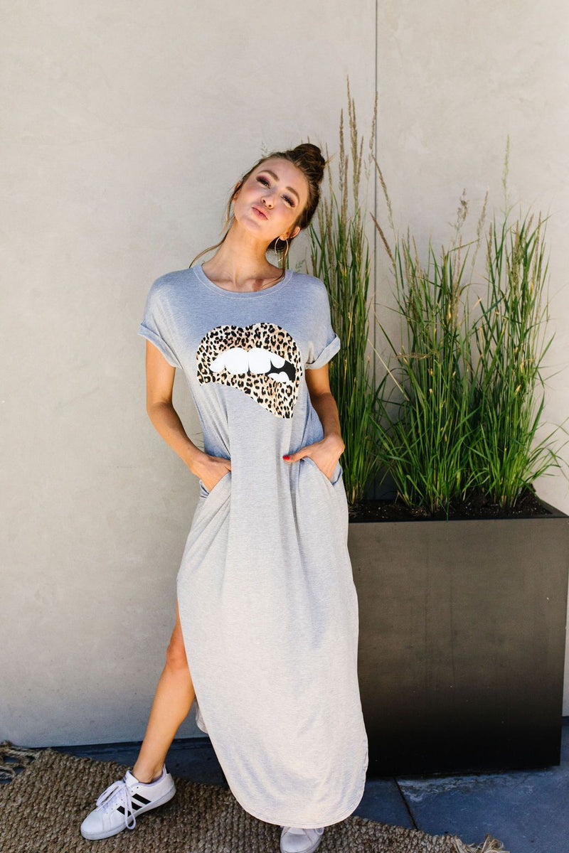 Don't Give Me Any Lip Maxi In Heather Gray-1XL, 2XL, 3XL, 7-16-2020, 7-24-2020, BFCM2020, Bonus, Dresses, Final Few Friday, Group A, Group B, Group C, Group D, Large, Made in the USA, Medium, Plus, Small, XL, XS-Womens Artisan USA American Made Clothing Accessories