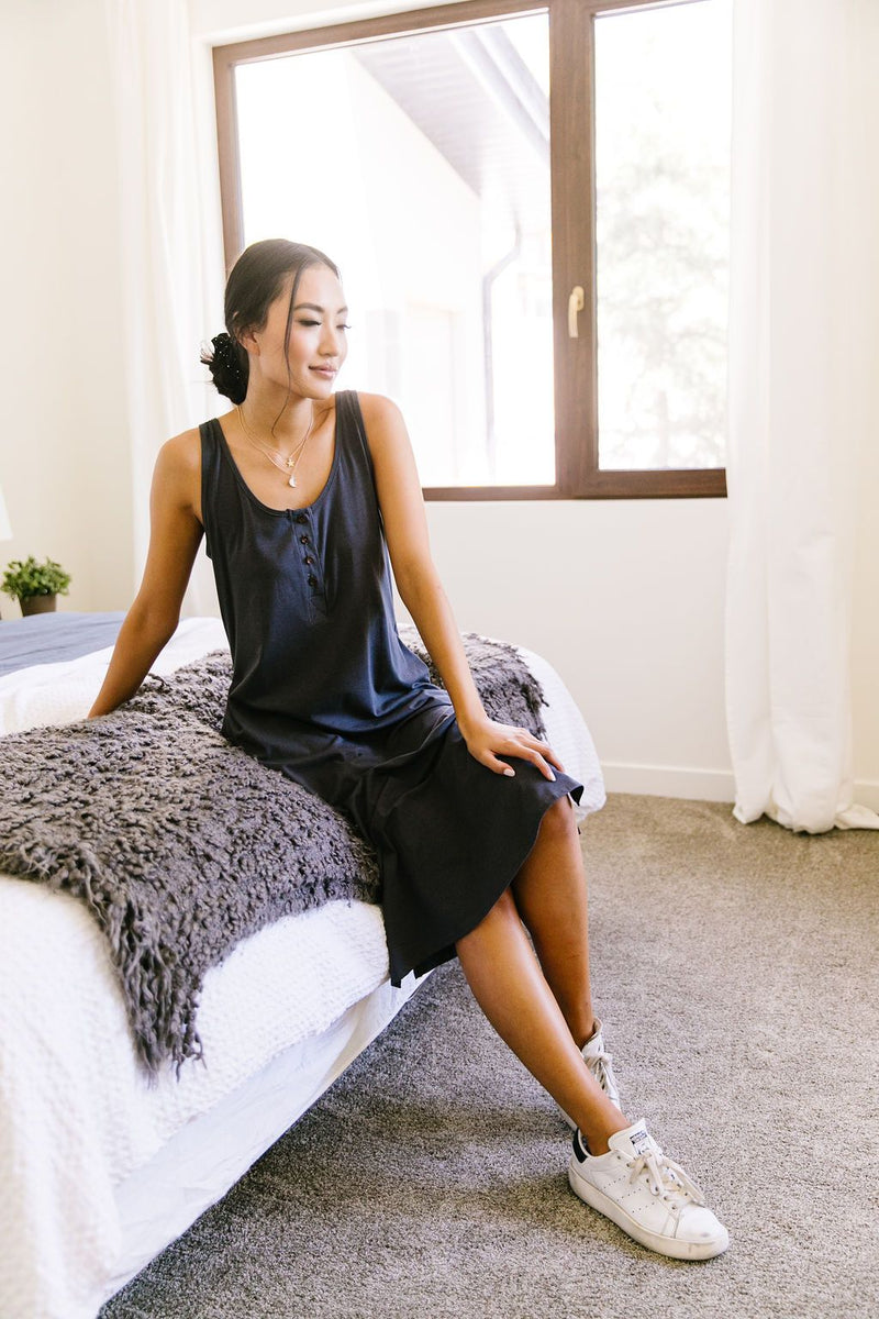 Easy Living Tank Dress In Charcoal-1XL, 2XL, 3XL, 7-16-2020, 7-24-2020, BFCM2020, Bonus, Dresses, FeaturedJan21, Final Few Friday, Group A, Group B, Group C, Group D, Large, Medium, Plus, Small-Womens Artisan USA American Made Clothing Accessories