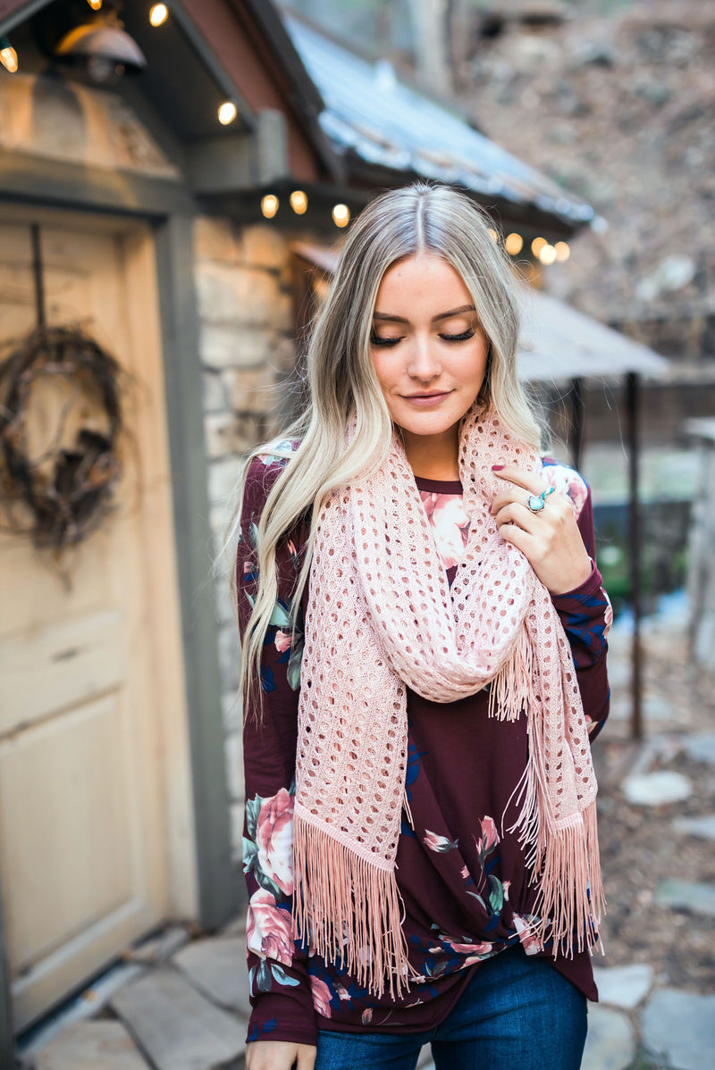 Eyelets + Fringe Blush Scarf-11-22-2019, BF10, Shoes & Accessories, Sync, Warehouse Sale-Womens Artisan USA American Made Clothing Accessories