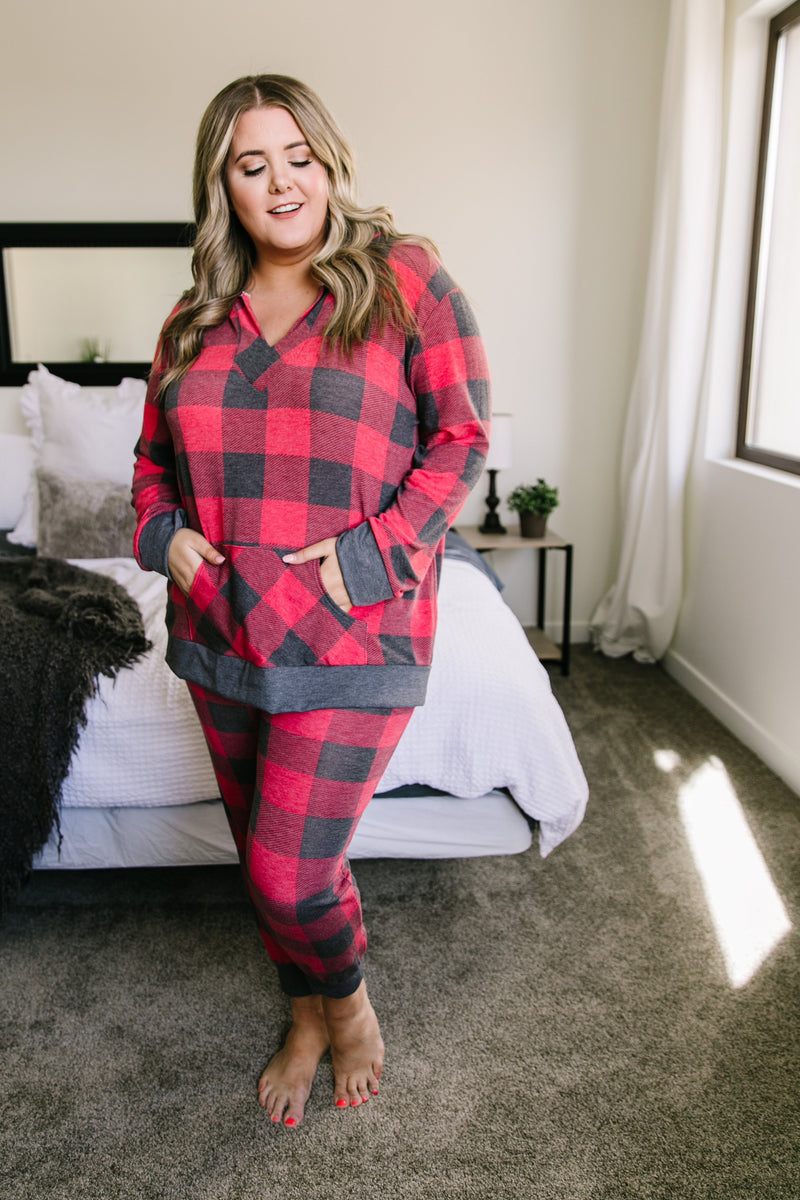 Faded Plaid Hoodie - On Hand-Buffalo Plaid, Christmas, Christmas pjs, Made in the USA, Plaid-Womens Artisan USA American Made Clothing Accessories