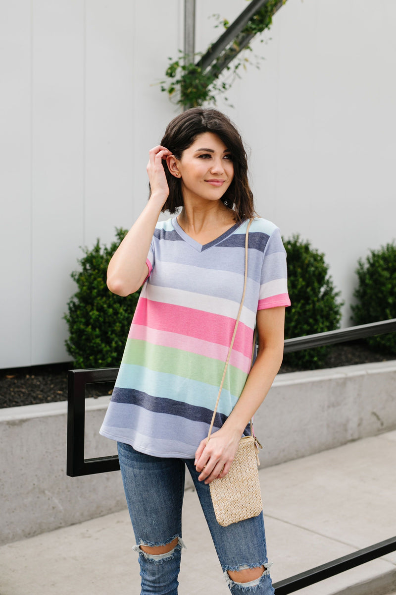 Faded Rainbow V-Neck-1XL, 2XL, 3XL, 4-7-2020, Final Few Friday, Large, Medium, Plus, Small, Sync, Tops, XL, XS-Womens Artisan USA American Made Clothing Accessories