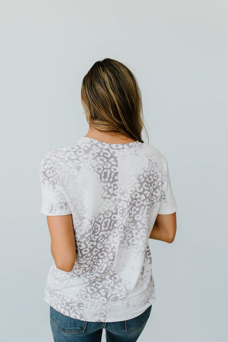 Fading Away Leopard V-Neck In Gray-1XL, 2XL, 3XL, 8-12-2020, 8-4-2020, Bonus, Group A, Group B, Group C, Group D, Large, Medium, Plus, Small, Tops, XL, XS-Womens Artisan USA American Made Clothing Accessories