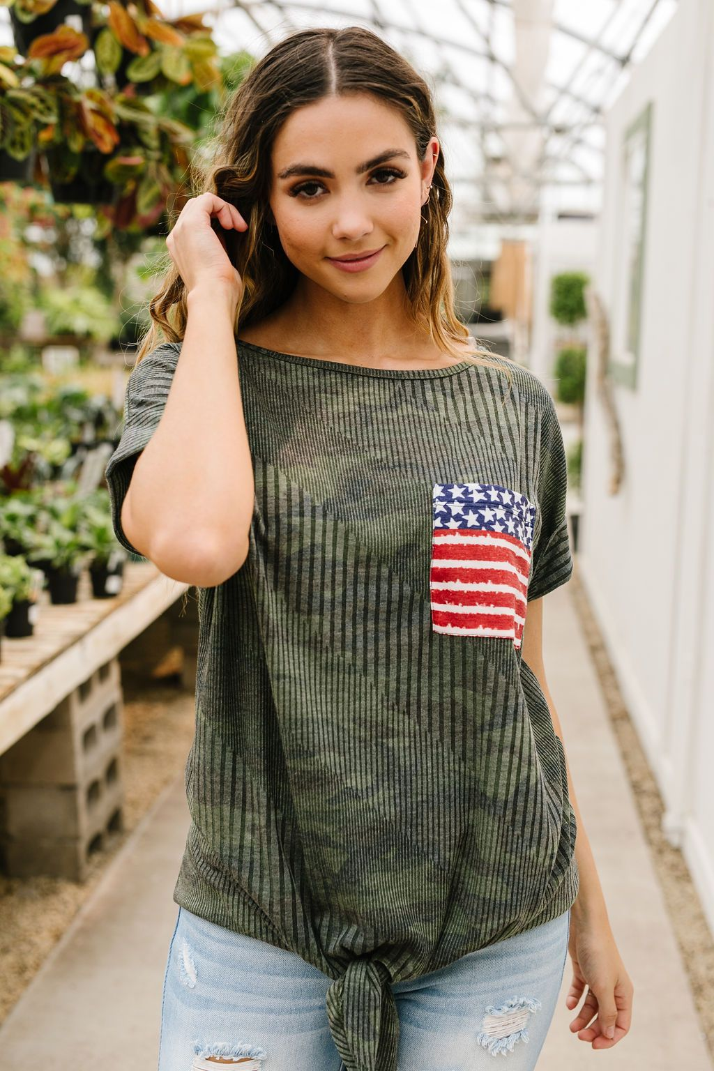 Flag Pocket Textured Camo Top
