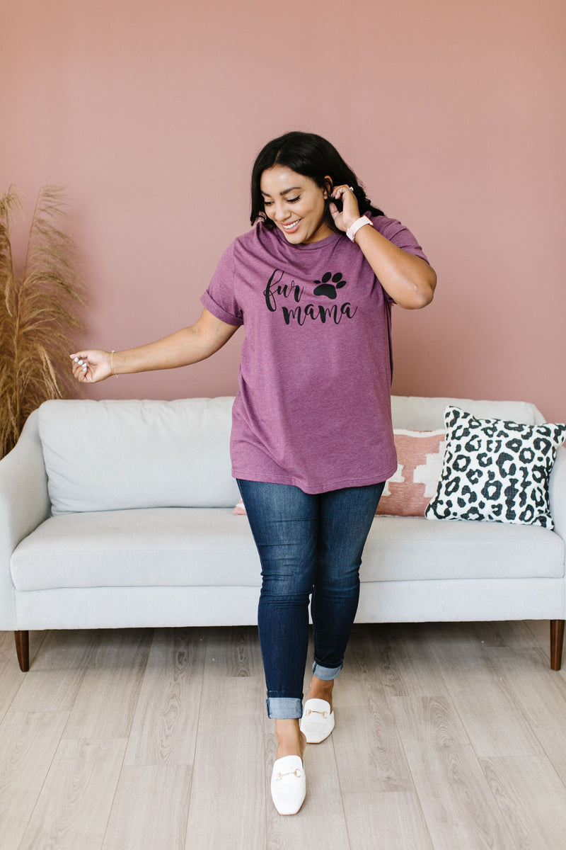 Fur Mama Graphic Tee-2XL, 3XL, 5-1-2020, Group A, Group B, Group C, Large, Medium, Plus, Small, Tops, XL, XS-Womens Artisan USA American Made Clothing Accessories