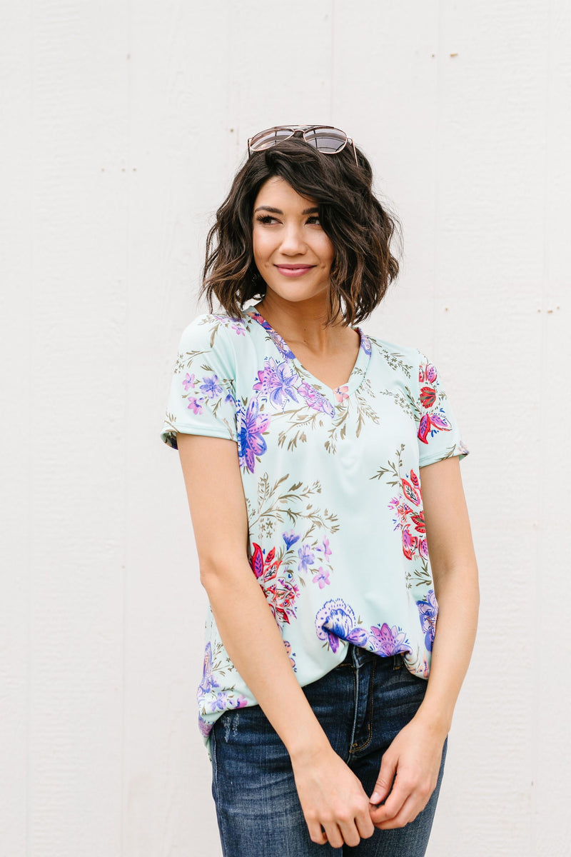 Garden Of Mint V-Neck-1XL, 2XL, 3XL, 5-14-2020, BFCM2020, Final Few Friday, Group A, Group B, Group C, Group D, Large, Medium, Plus, Small, Tops, XL, XS-Womens Artisan USA American Made Clothing Accessories