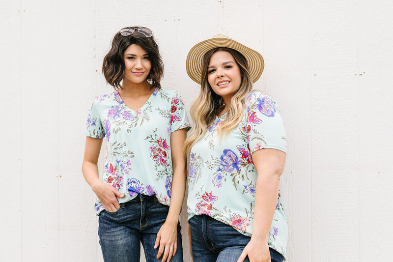 Garden Of Mint V-Neck-1XL, 2XL, 3XL, 5-14-2020, Final Few Friday, Group A, Group B, Group C, Large, Medium, Plus, Small, Tops, XL, XS-Womens Artisan USA American Made Clothing Accessories