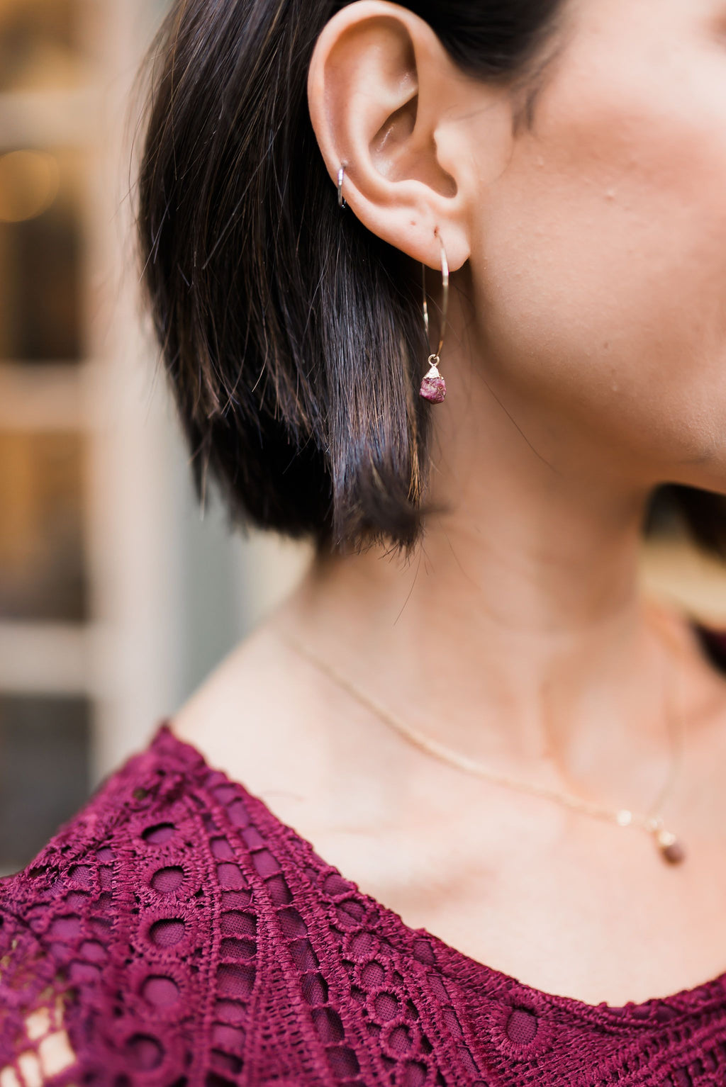 Garnet Nugget Earrings