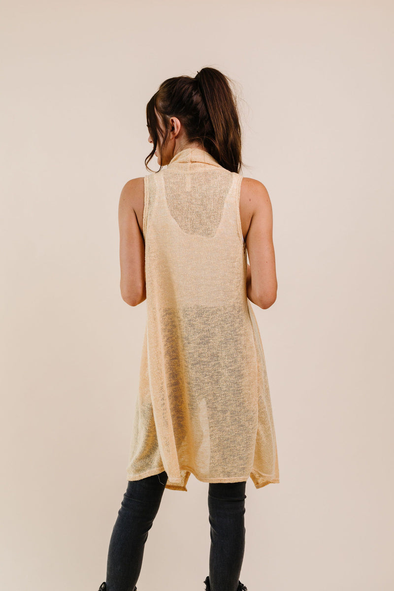 Gauzy Bohemian Cardi Vest In Gold-1XL, 2XL, 3XL, 8-25-2020, 9-11-2020, BFCM2020, Bonus, Group A, Group B, Group C, Group D, Large, Made in the USA, Medium, Plus, Small, Tops, Warehouse Sale, XL, XS-Womens Artisan USA American Made Clothing Accessories