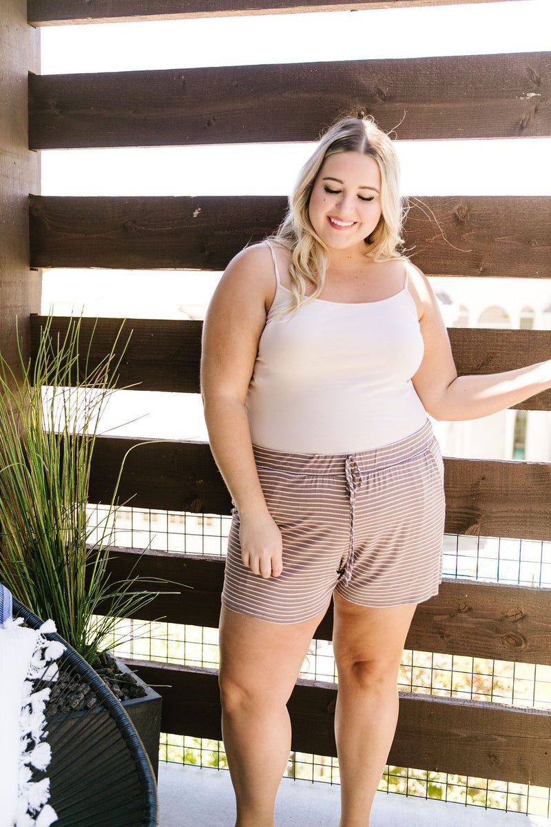 Give Me A Mocha Striped Shorts-1XL, 2XL, 3XL, 7-14-2020, 7-24-2020, Bonus, Bottoms, Group A, Group B, Group C, Group D, Large, Medium, Plus, Small, XL, XS-Womens Artisan USA American Made Clothing Accessories