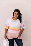 Glass Half Full Of Stripes Top-1XL, 2XL, 3XL, 5-5-2020, BFCM2020, Bonus-5/13/20, Group A, Group B, Group C, Group D, Large, Medium, Plus, Small, Tops, Warehouse Sale, XL-Womens Artisan USA American Made Clothing Accessories