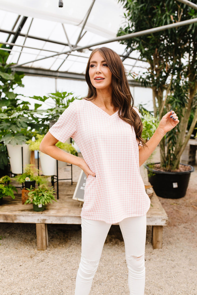 Good Girl Gingham V-neck In Pale Pink-1XL, 2XL, 3XL, 4-28-2020, Bonus-5/06/20, Final Few Friday, Group A, Group B, Group C, Large, Medium, Plus, Small, Tops-Womens Artisan USA American Made Clothing Accessories