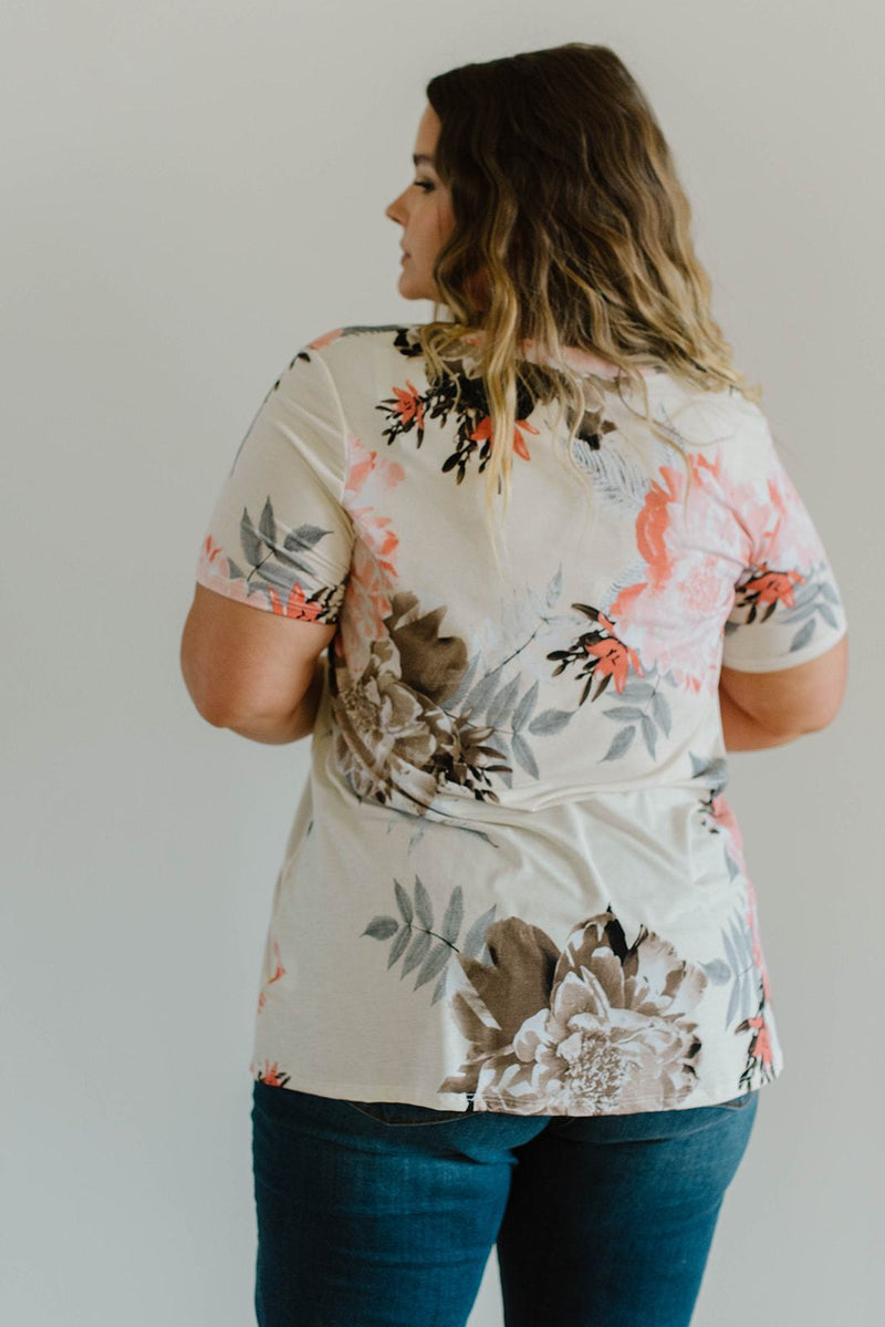 Grand Design Peach Floral V-Neck-1XL, 2XL, 3XL, 8-12-2020, 8-6-2020, Bonus, Final Few Friday, Group A, Group B, Group C, Large, Medium, Plus, Small, Tops, XL, XS-Womens Artisan USA American Made Clothing Accessories