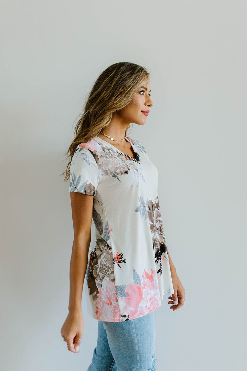 Grand Design Peach Floral V-Neck-1XL, 2XL, 3XL, 8-12-2020, 8-6-2020, Bonus, Final Few Friday, Group A, Group B, Group C, Group D, Large, Medium, Plus, Small, Tops, XL, XS-Womens Artisan USA American Made Clothing Accessories