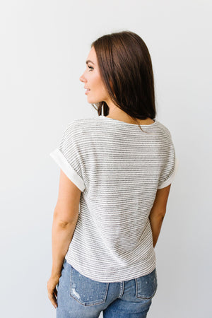 Heathered Stripes Top-1XL, 2XL, 3XL, 7-28-2020, BFCM2020, Group A, Group B, Group C, Group D, Large, Medium, Plus, Small, Tops-Womens Artisan USA American Made Clothing Accessories