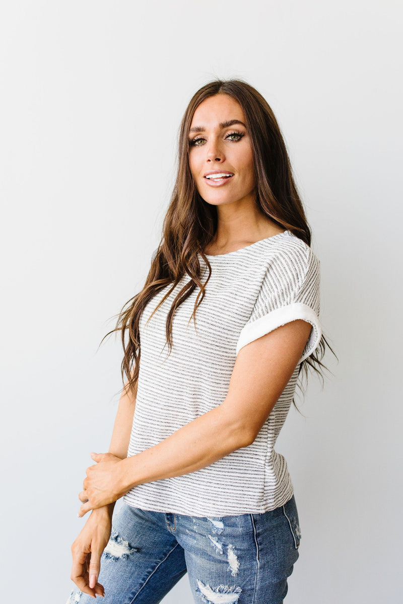 Heathered Stripes Top-1XL, 2XL, 3XL, 7-28-2020, Group A, Group B, Group C, Group D, Large, Medium, Plus, Small, Tops-Womens Artisan USA American Made Clothing Accessories
